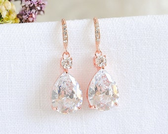 Rose Gold Bridal Earrings, Wedding Earrings, Wedding Jewelry, Teardrop Dangle Earrings, Bridesmaids Earrings, Crystal Earrings, ISABELLA