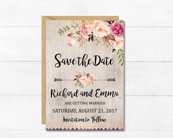Boho Floral Save the Date Card, Printable Floral Boho Save the Date, Rustic Save the Date, Bohemian Card, Arrows, Wedding, Download, 109-A