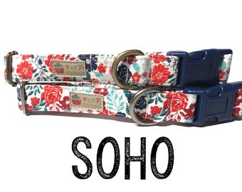 "Vintage Dog Collar - Floral Dog Collar - Girl Dog Collar - Flowers Dog Collar - Antique Metal Hardware - ""The Soho"""