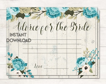 Advice for the Bride, Wedding Advice Cards, Newlywed Advice, Rustic Bridal Shower, Vintage Bridal, Blue Flowers, Printable No. 1026