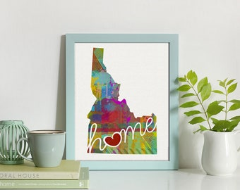 Idaho Love - ID - A Colorful Watercolor Style Wall Art Hanging & State Map Artwork Print - College, Moving, Engagement, and Shower Gift