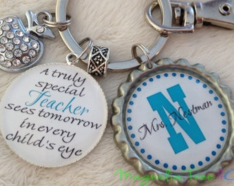 PERSONALIZED TEACHER Key Chain or Necklace, Teacher Gift, School, Supply, Aide, Educational Assistant, Principal, Truly Special Teacher MT02