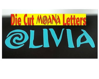 """Moana Party, Die Cut Letters, Name and Number,Custom Name Moana Letters, Moana Die Cut Letters for Banner, Cardstock 8""""inch FREE SHIPPING"""