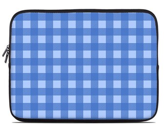 Buffalo check laptop sleeve, blue on blue laptop case, laptop cover, computer sleeve, to fit 10, 13, 15, 17 inch