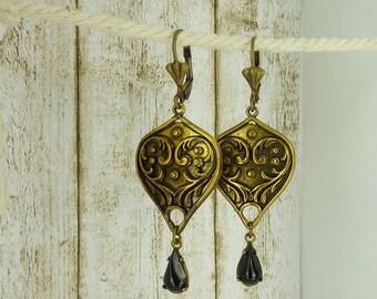 """earrings """" Aladdin """" old gold oriental"""