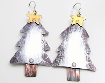 Christmas Earrings - Hand Stamped Jewelry - Sterling Silver and Aluminum - Christmas Jewelry - Mixed Metal Earrings Riveted - Christmas Tree