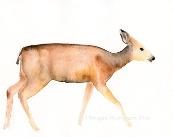 Nature Watercolor - Mule Deer On a Walk - Fine Art Print - Woodland Painting - Children's Print