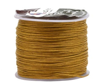 Gold Waxed Cotton Cord, Thread; 0.5mm, 109 Yards; Beading, Macramé, Jewelry, Leather, Book Binding; Waxed Cotton Thread, Cord