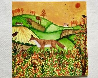 Autumn Fields, blank greetings card