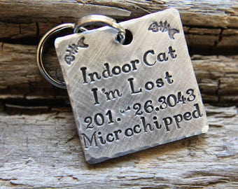 Hand Stamped Cat ID Tag-Indoor Cat Tag-Tag for Kitty-Hand stamped Cat Tag-Tag for Indoor Cat