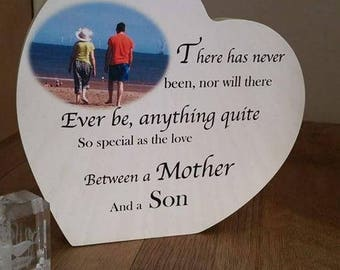 Mother and Son Standing Heart wooden plaque