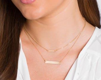 TINY Gold Bar Necklace, Engraved Horizontal Bar Necklace, Initial necklace, Personalized necklace, Engraved, Initial Bar, Bridesmaid Gift