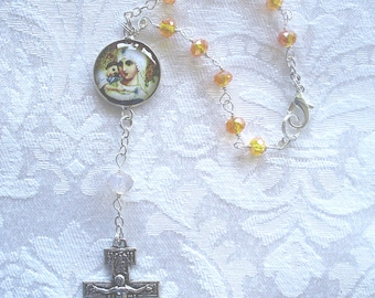 Madonna and Child Centerpiece with Amber Colored Beads Auto/Car Rosary - Catholic