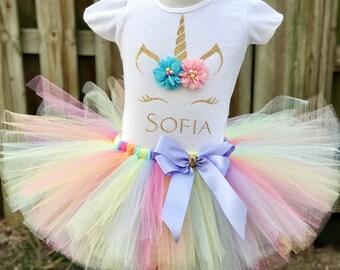 Unicorn Birthday Outfit, 1st Birthday Outfit, 2nd Birthday Outfit, 3rd Birthday Outfit, 4th Birthday Outfit, Unicorn Tutu, Personalized