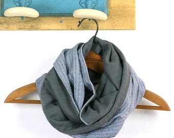 Mixed Snood in mix cotton gray and cotton blue