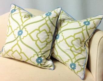 """Decorative Pillow, W/ Cording, Invisible Zipper, Down Insert, 20x20"""", Designer fabrics; Kravet-Duralee-Fabricut-Robert Allen"""