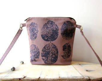 Brown Crossbody bag, hand stamped bag, handprinted cotton bag, leaves stamped bag, vegan crossbody bag, everyday bag