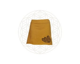 Hemp Clothing - Organic Cotton and Hemp  Mini Skirt  with Crystal Cluster Print,  Custom made for you and great for layering