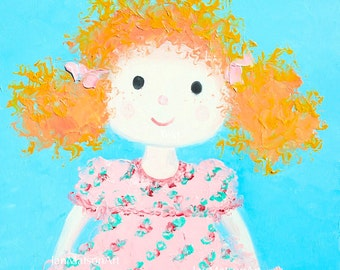 Etsy nursery art, girls room painting, Kids Wall Art, baby girls room decor, rag doll painting, nursery painting, Jan Matson