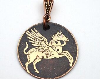 Greek Pegasus winged horse pendant, round flat etched metal 28mm