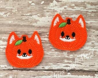 Pumpkin Feltie, Fox Felties, Fox Pumpkin Felties, Fall Felties, Set of 2, Embroidered Felties, Cut Felties, Bow Center, Embellishment