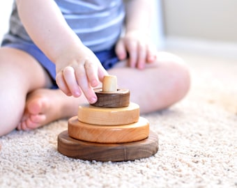 Stacking Rings, Wooden Toy, All Natural Toy, Wooden Stacker, Toddler toy, Montessori, Waldorf Toy, Baby Shower Gift, New Baby Gift