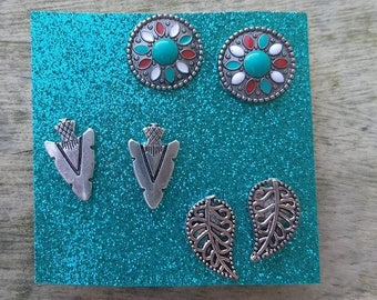 Boho stud earring set