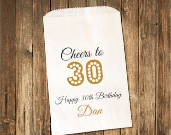 Birthday Favor bag/ 30 birthday Favor Bag/Cheers to 30/Birthday Candy Bag