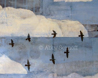 Flying Birds, Clouds,  Flying Birds Wall Decor, Sky, Sky Art, Bird Art Print, Bird Lover Gift, Giclee, Art Print, Blue Sky, 8 x 10