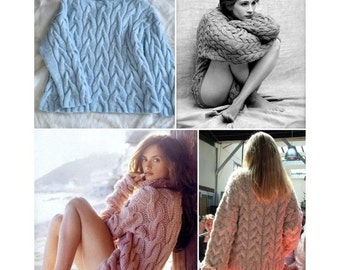 Chunky oversized cable knit wool sweater in pale blue