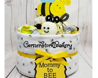 Mommy to Bee Diaper Cake| Bee Diaper Cake| Bumble Bee Baby Shower| Bee Baby Shower Centerpiece| Baby Gift| Neutral Gender Baby Gift