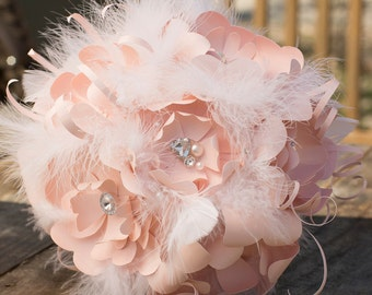 Pale Pink Flower & White Feather Wedding Bouquet with matching Boutonniere