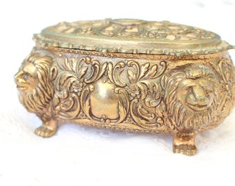 VANITY CASKET, Brass Oval, Footed Lion Head Casket/Trinket, Art Nouveau Inspired, Gifts for Her, Hollywood Regency Glam, Gifts for Her