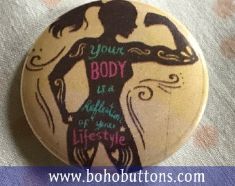 Female Body Pinback Button, Custom Backpack Pins and Patches, Boho Buttons, Hippie Keychain, Feminist Magnet, Work out, Gym Exercise