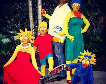 SetCrochet 5 hatsMaggieLisaMargeHomerBart Simpson hatssimpson wig-Halloween Costume Ideas for family-night costumes  sc 1 st  Etsy & Crochet Maggie Simpson costume-crochet Maggie simpson