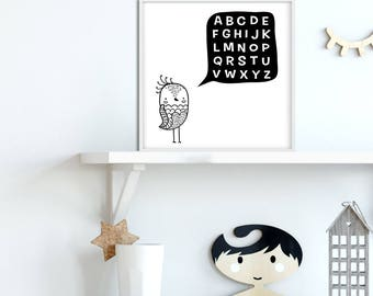 Alphabet Art Printable Black White Bird , Playroom Wall Art Alphabet, Letters Printable, Toddler Room Scandinavian Nursery Alphabet Artwork