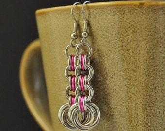 3in3 Pink and Silver Earrings E53