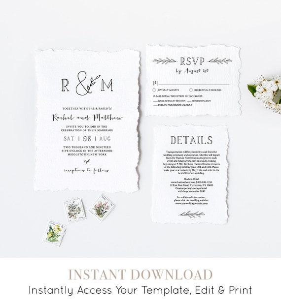 Wedding Invitation Printable | INSTANT DOWNLOAD | 100% Editable Template | Invite, RSVP, Detail | Rustic Boho Simple Wedding, Templett #042
