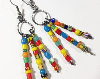Bohemian Bead Earrings #1, Boho Hippie Earrings, Free Domestic Shipping