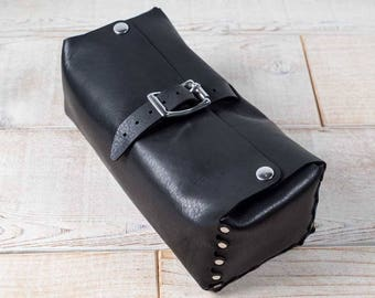 All leather dopp kit / leather shaving kit / leather toiletry bag / leather gadget dopp kit / leather cord organizer