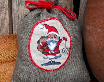Christmas Gift Bag Holiday Gift Bag Scandinavian Santa Sack Linen Gift Bag Christmas Bag Gnome Elf Tomte Nisse Gift Wrap Swedish Christmas
