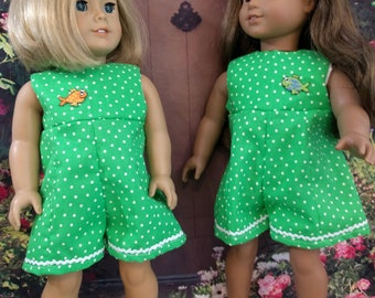 Green Summer Culotte for an American Girl Doll or other 18 inch doll