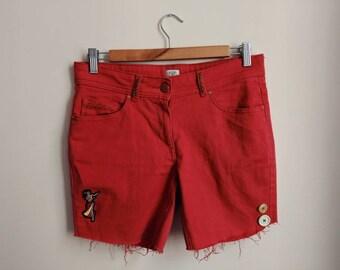 Upcycled Shorts, Festival Shorts, Customised Shorts, Embroidered Shorts, Denim Shorts, Red Shorts