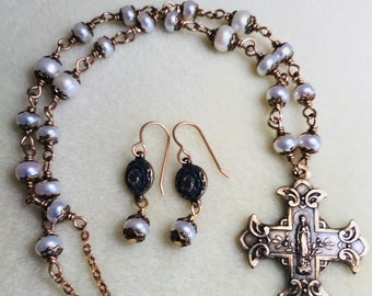 Pearl Bronze Marian And Sacred Heart Cross Necklace & Earring Set, St Therese earrings, pearl, Wire Wrapped, Catholic