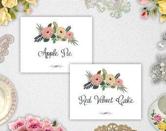 Food Labels // Editable // Printable // INSTANT DOWNLOAD // Wedding // Party // Bridal Shower // Vintage floral // Rustic // #PBP91