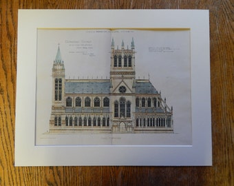 Cathedral Church of St John the Divine, New York, 1890, Parfitt, Architect. Hand Colored, Original Plan. Architecture, Vintage, Illustration