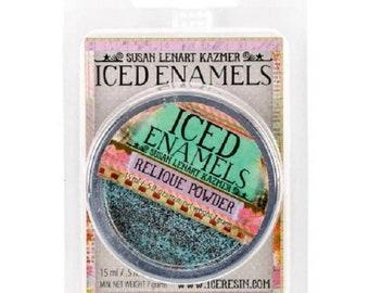 Iced Enamels relique powder, Turquoise, .25oz