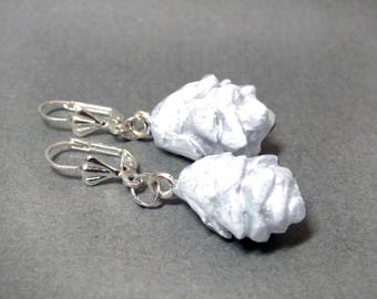 White Hemlock Pine Cone Silver Earrings