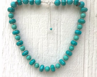 Turquoise Necklace - Howlite Gemstone Jewellery - Sterling Silver Jewelry - Beaded - Chunky