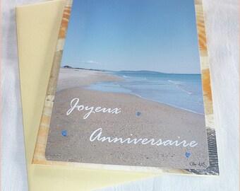 Carte anniversaire Balade à la mer faite main de Céline Photos Art Nature